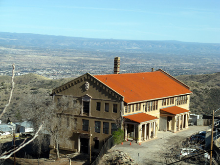 Jerome Civic Center: note the Mogollon Rim and Verde Valley beyond the building itself.