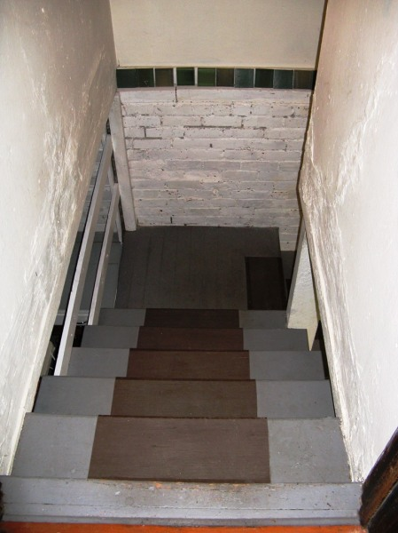 the basement stairs to the landing